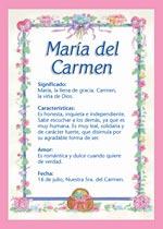 Nombre María del Carmen