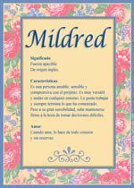 Origen y significado de Mildred
