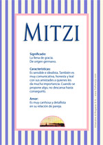 Origen y significado de Mitzi
