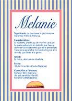 Origen y significado de Melanie