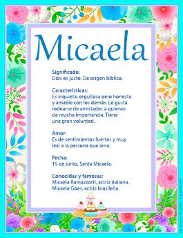 Origen y significado de Micaela