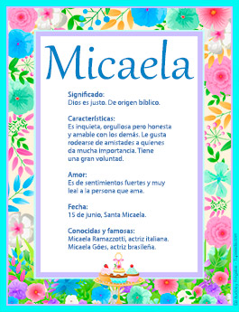 Nombre Micaela