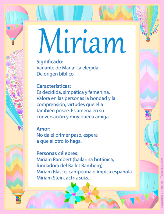 Miriam, imagen de Miriam