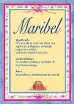 Origen y significado de Maribel