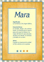 Origen y significado de Mara