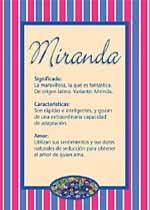 Origen y significado de Miranda