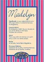 Origen y significado de Madelyn