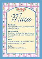 Nombre Maca