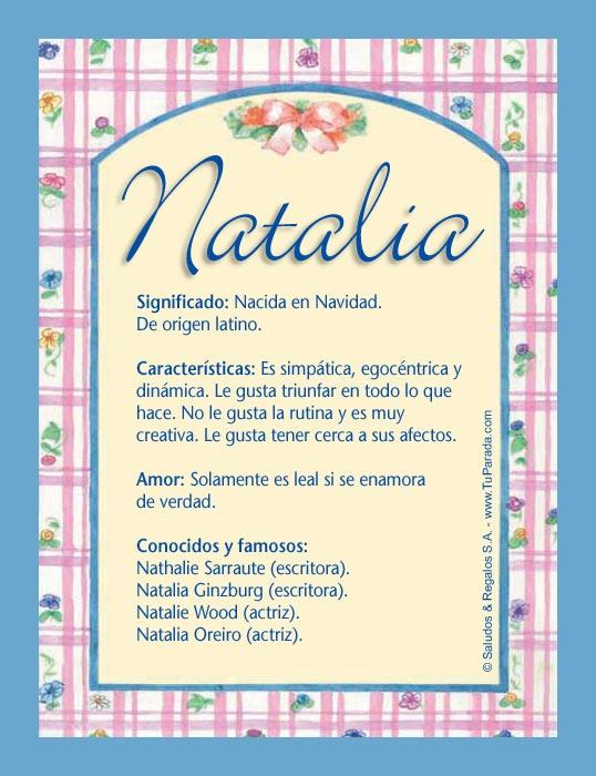 Natalia, imagen de Natalia