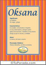 Nombre Oksana