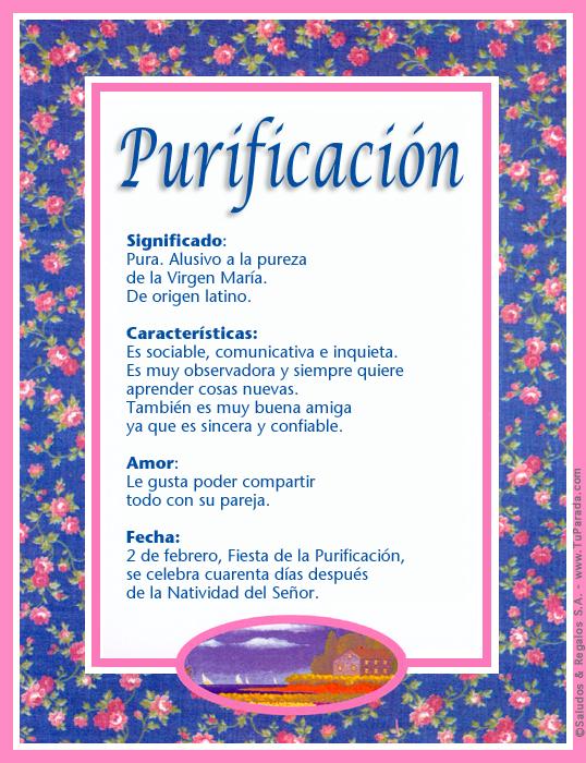 Purificación, imagen de Purificación