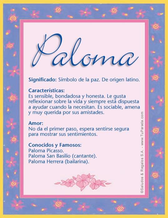 Paloma significado del nombre paloma nombres for Nombre del sillon de los psicologos