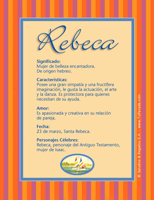 Rebeca, imagen de Rebeca