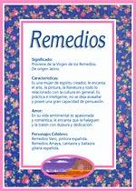Origen y significado de Remedios