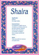 Nombre Shaira