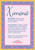 Nombre Ximena