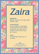 Origen y significado de Zaira