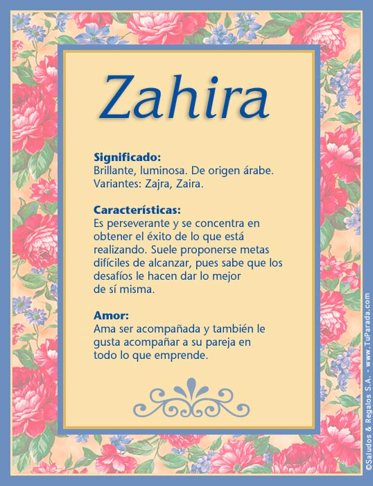 Zahira, imagen de Zahira