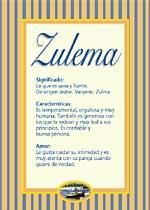 Origen y significado de Zulema