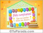 Tarjetas, postales: Ecard de cumpleaños de globos