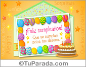 Tarjeta - Ecard de cumpleaños de globos