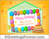 Ecard - Colorful balloons and birthday cake