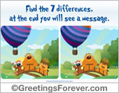 Greeting ecards: Game - Find the 7 differences