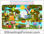 Greeting ecards: Search the park game