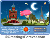 Greeting ecards: Move the joystick with the mouse to navigate the spaceship