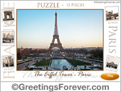 Greeting ecards: Paris - Puzzle: 15 pieces