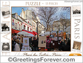 Greeting ecards: Place du Tertre - Paris - Puzzle: 15 pieces