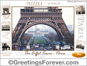 Greeting ecards: The Eiffel Tower - Puzzle: 15 pieces
