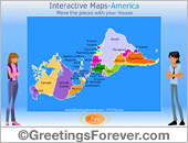 Greeting ecards: Interactive Map of America