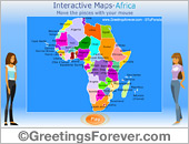 Greeting ecards: Interactive map of Africa