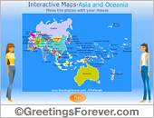 Greeting ecards: Interactive map of Asia