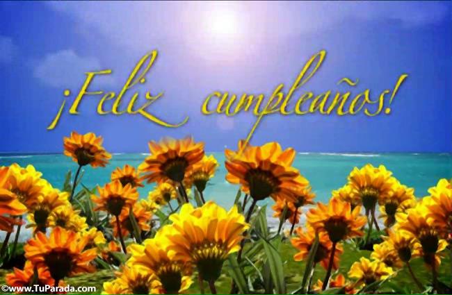 Tarjeta - Video tarjeta con flores y mar de cumpleaños