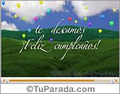 Tarjetas, postales: Video tarjeta con globos de cumpleaños