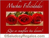 Tarjeta - Muchas Felicidades con rosas.