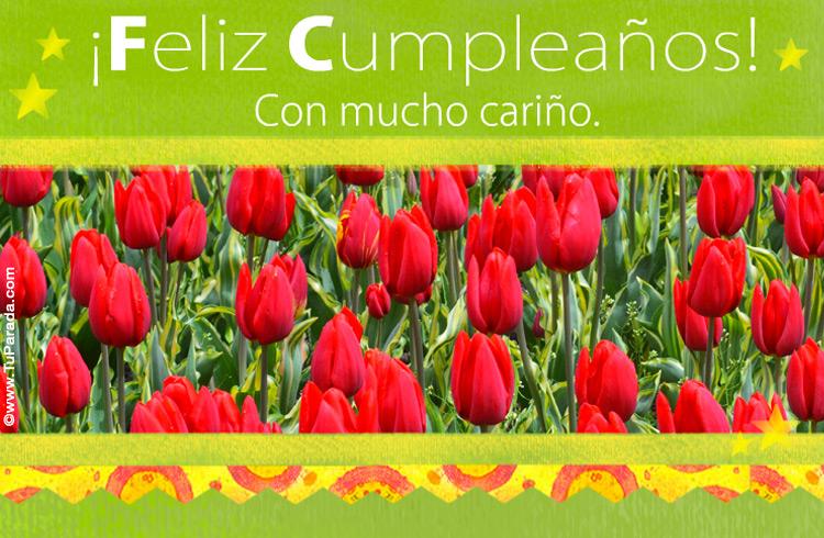 Tarjeta De Cumpleaños Con Tulipanes, Modelos De Flores