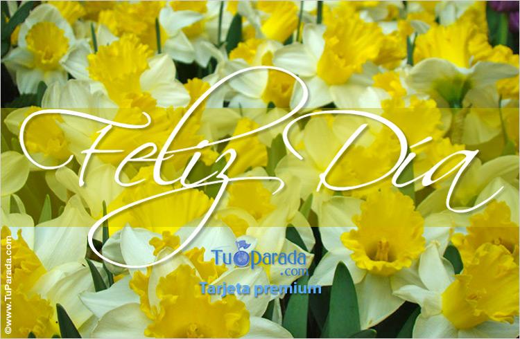 Tarjeta - Feliz día con flores amarillas