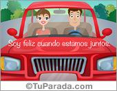Tarjeta de amor en auto