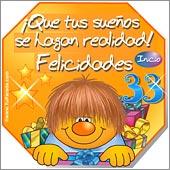 Cumpleaños para cada edad - Tarjetas postales: 33 Años