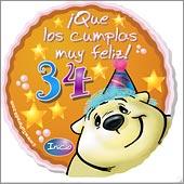 Cumpleaños para cada edad - Tarjetas postales: 34 Años