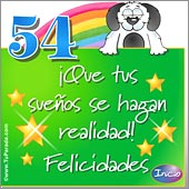 Cumpleaños para cada edad - Tarjetas postales: 54 Años