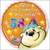 Cumpleaños para cada edad - Tarjetas postales: 58 Años