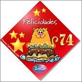 Cumpleaños para cada edad - Tarjetas postales: 74 Años