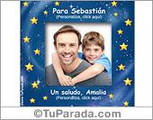 Tarjetas, postales: Portarretrato con estrellas personalizable