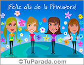 Tarjetas, postales: Tarjeta de feliz Primavera para amigas