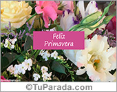 Tarjetas, postales: Día de la Primavera con ramo de flores