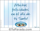 Feliz Santo - Tarjetas postales: Muchas Felicidades